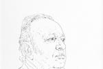 Derek Mahon pen and ink